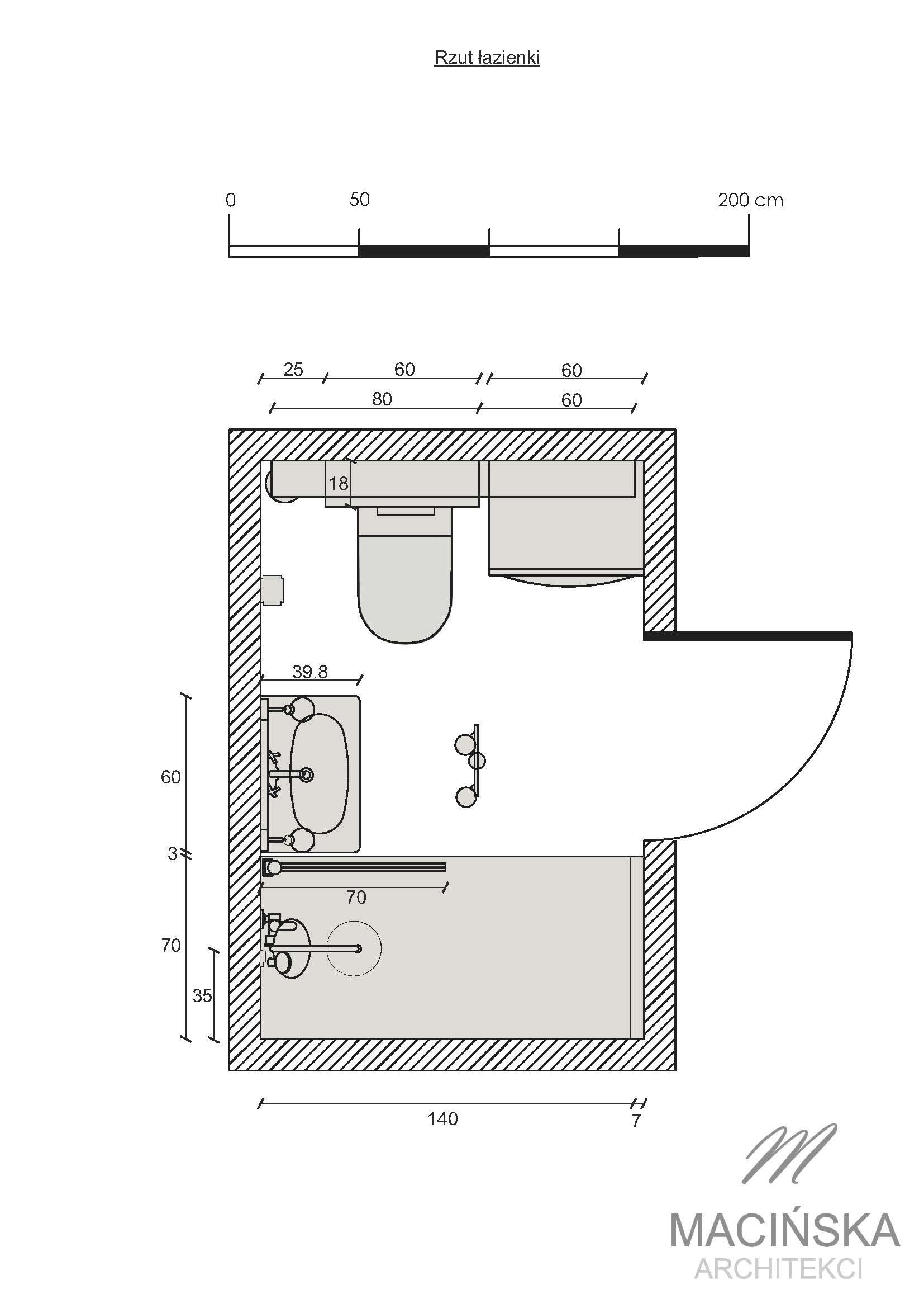 Projektowanie łazienek Poznań Jeżyce Rzut Macińska