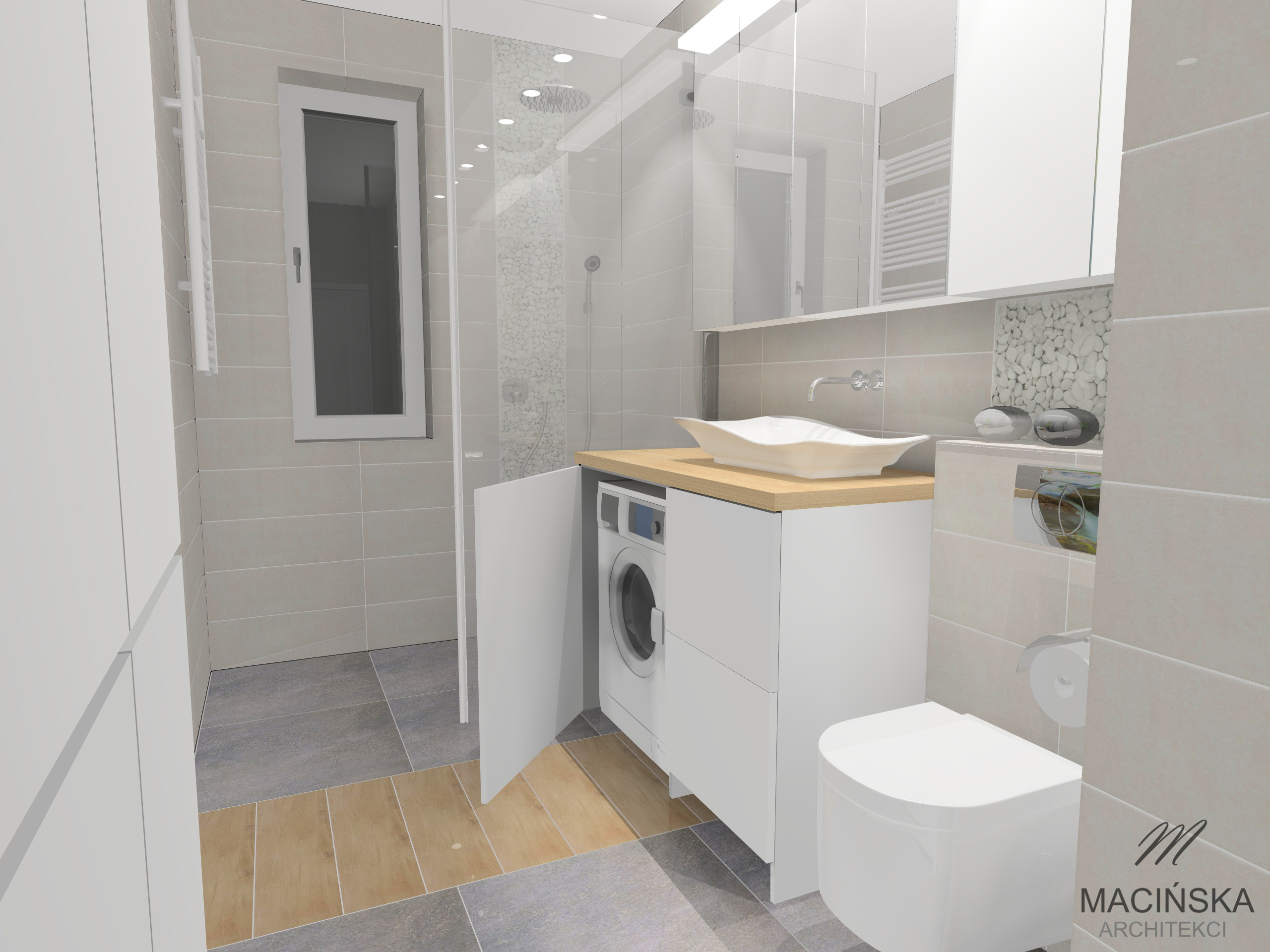 Pralka W łazience Macińska Architekci